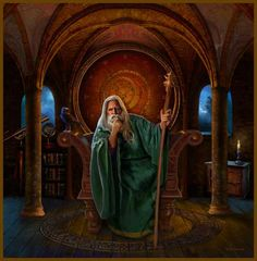 "Myrrdin ""Merlin"", Celtic (Britania, Irish & Welsh) Sorcerer, Druid, Wizard and Magician. Originally an ancient Welsh Druid, priest of the old religion, and great magician. He was transformed in the later Arthurian sagas. Tradition says he learned his powerful magic from the Goddess in her forms of Morrigan, Viviane, Nimue, and Lady of the Lake. Legend says he now lies sleeping in a hidden crystal cave. Variants: Merddin, Merlyn.  ~~~~~~~~~~~~~~  Art: ""Myrddin"" by Bob Nolin"