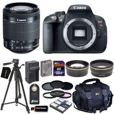 Canon EOS Rebel T5i Digital SLR Camera with 8-55mm STM Lens  20pc 32GB Dlx Kit
