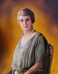 Horthy Miklósné jószáshelyi Purgly Magdolna portréja (40x50 cm-es olajfestmény)