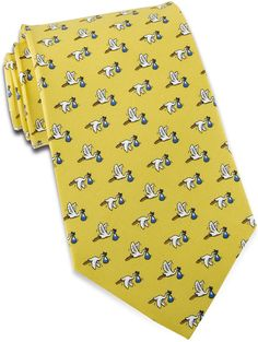 Look what the stork brought us! A baby tie perfect for brand spankin' new dads. An excellent shower gift or Father's Day present for the proud papa (or grandpa)…Or even a tie for your obstetrician.