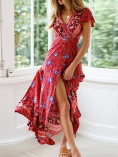 Vintage V Neck Floral Print Summer Dress Ruffle Split Sash Sexy Long Dress Bohemian Women Dress Holiday Beach Dresses Vestidos Maxi Wrap Dress, Floral Maxi Dress, Boho Dress, Maxi Dresses, Dress Beach, Beach Dresses, Dress Summer, Long Dresses, Boho Summer Dresses