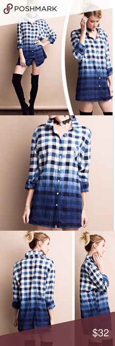 CRINKLE OMBRÉ PLAID BUTTON DOWN Adorable crinkle plaid, ombré button down shirt featuring breast pockets and roll up sleeves. Tunic length. Cotton/Polyester. Measurements upon request. tla2 Tops Button Down Shirts