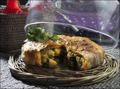 Spicy potato- and spinach pie by Lise Finckenhagen (in Norwegian)