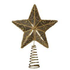 Kurt Adler 6-1/4-Inch Gold Wire Star Tree Topper - http://www.christmasshack.com/christmas-tree-toppers/kurt-adler-6-14-inch-gold-wire-star-tree-topper/
