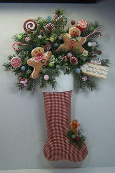 Christmas Stocking Gingerbread Wreath Swag Primitive Door Wall Mantel Decor