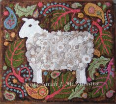 Paisley Sheep - made with standing wool circles (and paisleys)