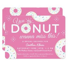 Most up-to-date No Cost Bridal Shower Invitations pink Strategies This bride's friends and family expect get together at any wedding shower to pay tribute to the long term Mrs. Bridal Shower Invitation Wording, Pink Wedding Invitations, Custom Invitations, Party Invitations, White Bridal Shower, Bridal Showers, Cute Donuts, Wedding Donuts, Baby Shower Invitaciones