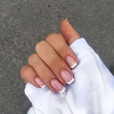 French Tip Acrylic Nails, White Tip Nails, Best Acrylic Nails, French Manicure Nails, Colored French Nails, White French Nails, Cute Nails, Pretty Nails, My Nails