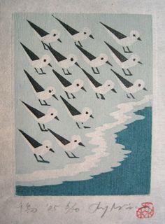 千鳥-chidori-Morimura Ray born 1948 Japan wood block