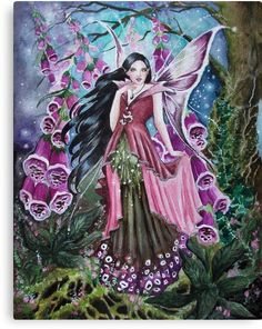 'Foxglove digitalis fairy faerie, elf, pixie, fantasy' Canvas Print by Gabriella Szabo Gothic Vampire, Vampire Art, Philippine Mythology, Heaven Art, Clown Horror, The Art Sherpa, Fairies Photos, Amy Brown, Fairy Pictures