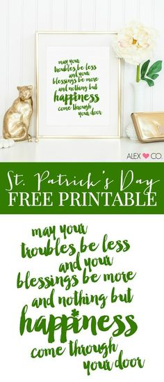 Free St. Patrick's Day Printable via Night Owl Blog - Great for your green st. patrick's day decor!