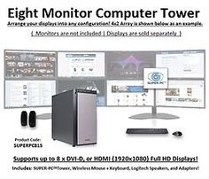 SUPER PC | Eight Monitor Workstation | Intel Core i7 Quadcore | SUPERPC815 #SUPERPC