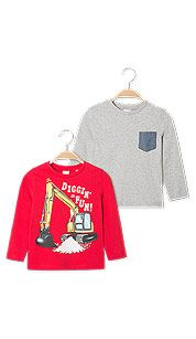 Pack 2 t-shirt manica lunga cotone bio in rosso