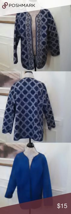 HOST PICK!!! LN Reversable Jacket Print & Solid 2 in 1 Jacket reversible like new long sleeves royal blue on one side, black and white on the other, no tags Worn only once or twice Jackets & Coats Blazers