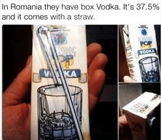 In Romania you get vodka in Tetra-Pak . Memes Humor, Funny Jokes, Hilarious, Food Humor, Dog Memes, Tetra Pak, Image Gag, Rage Comic, Cool Pictures