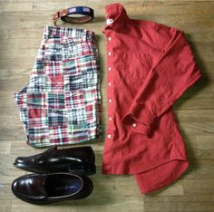 The weather will be cooler today - about 90F - so I can dress in something other than shorts and a tank. I'm spawning inspiration from the Ivy League today.  OOTD: Madras Shorts - J. Crew Belt - Leather Man LTD Linen Shirt - Frank & Oak Loafers - Tommy Hilfiger (eBay)