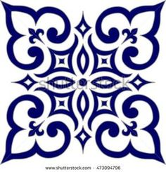 Geometric Islamic Pattern Arabesque blue and white.