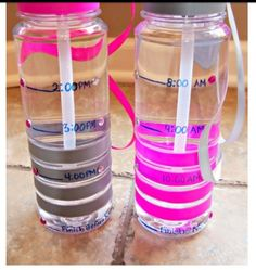 Measurements & Time on Water bottles to make sure ur drinking a good amount of water :)