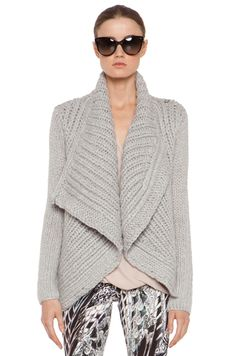 Helmut Lang Augmented Wool Shawl Cardigan in Grey