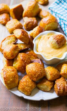 Soft Pretzel Bites with Spicy Cheese Dip by sallysbakingaddiction.com cheese dips, chees dip, pretzel bites, spicy cheese dip, soft pretzels recipe, snack
