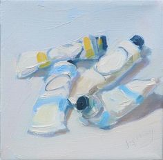 """Daily Paintworks - """"My Pretty Paints,still life,oil on canvas,6x6,price$200"""" - Original Fine Art for Sale - © Joy Olney"""