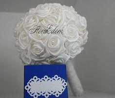 Нежный букет невесты из атласных лент, цвет: IVORY. Купить или заказать букет невесты можно в Нарве. Доставка по всей Эстонии Информация: + 372 53 815 356