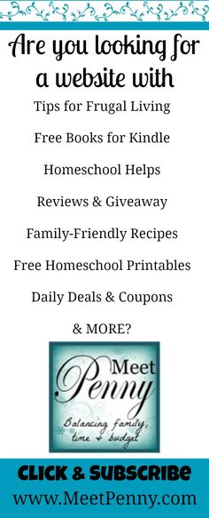 Come and MEET PENNY, a homeschooling mother of 4 striving to balance family, time, and budget and sharing what she learns along the way to help you avoid the mistakes she has made. www.MeetPenny.com