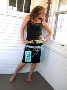 Upcycled Clothing Eco simple panel  SKIRT patchwork color by zasra, $60.00