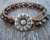 Red  Leather Wrap Bracelet, Bohemian, Rustic, Weathered Stone Look, Western, Daisy Flower button, multicolored beads