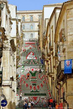 Steps of Santa Maria del Monte, Caltagirone, Sicily, Italy by Michel Jean-Nicolas Weiland-Muller