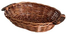 OVAL TRAY BASKET WITH WOOD HANDLES - CHOOSE FROM 3 COLORS