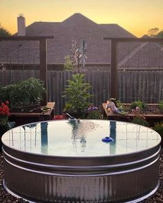 The stock tank pool KIT: four ESSENTIAL items to keep your stock tank pool clean, clear, and BLUE all summer — Stock Tank Pool Tips, Kits, & Inspiration Small Backyard Pools, Small Pools, Backyard Patio, Backyard Ideas, Backyard Waterfalls, Backyard Ponds, Backyard Playground, Patio Ideas, Stock Pools