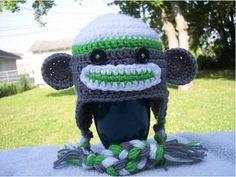 Free Crochet Sock Monkey Hat pattern for baby or child Crochet Sock Monkeys, Crochet Animal Hats, Crochet Socks, Crochet Baby Hats, Cute Crochet, Crochet Monkey, Knit Crochet, Sock Monkey Hat, Afghan Crochet Patterns