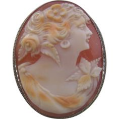 Vintage Edwardian 10K White Gold Conch Shell Carved Female Form Cameo-Pin Brooch