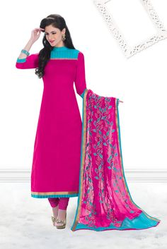 5dea955425 Look beautiful and adorable always by cladding into this pink color casual  wear salwar kameez.