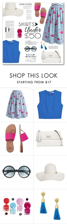 """""""Skirt under $50"""" by sissydoll ❤ liked on Polyvore featuring Chicwish, Alice + Olivia, André Assous, DKNY, Tom Ford, Melissa Odabash, Hansen, Karen Kane, under50 and skirtunder50"""