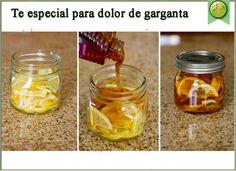 """TÉ ESPECIAL PARA DOLOR DE GARGANTA:  En un recipiente de vidrio con tapa, combinar 1 limón en rodajas, miel pura de abejas y jengibre en rodajas. Cerrar el recipiente y colocarlo en la nevera, (se forma una """"gelatina""""). Para servir: una cucharadita en una taza y vierte agua hirviendo sobre ella. Conservar en la nevera 2 a 3 meses."""