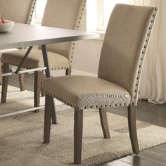 Coaster Amherst Casual Parson Chair with Tan Fabric Upholstery and Nailhead Trim - Coaster Fine Furniture