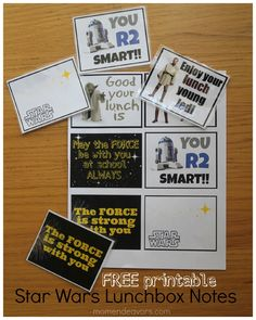 Free printable Star Wars Lunchbox Notes. Perfect for your little Star Wars fan! May the Force be with you!
