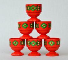 6 beautiful EMSA orange/red with flower egg by VintageandPrints, €7.50
