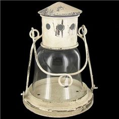 Small Antique White Metal Lighthouse Lantern with Glass | Shop Hobby Lobby