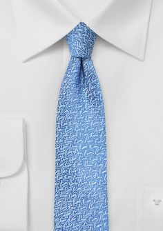 Skinny Textured Silk Tie in Sky Blue - Bring some positive vibes into your office attire with BlackBird s new skinny tie collection featuring a unique fabric weave paired with Office Attire, Skinny Ties, Tie Knots, Modern Man, Silk Ties, Woven Fabric, Menswear, Bows, Sky
