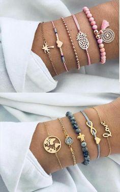 Set of 5 too cute bracelets - Trendthemen - Set of 5 Armbänder Trop Mignon . - Set of 5 too cute bracelets – Trendthemen – Set of 5 Armbänder Trop Mignon # Armbänder - Diy Jewelry To Sell, Cute Jewelry, Beaded Jewelry, Handmade Jewelry, Jewelry Making, Jewellery, Jewelry Wall, Jewelry Armoire, Handmade Wire