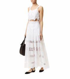 Alberta Ferretti Lace Trim Maxi Skirt White| Harrods.com