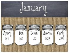 This features a burlap and chalkboard birthday sign for each month, as well as, mason jars for you to enter students names into. You will simply input student names into the mason jar using the text feature in pdf, then print the signs and mason jars, cut them out and place where they belong.