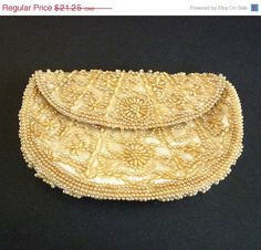 ON SALE Vintage Satin Clutch Purse with Beads