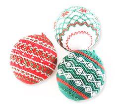 Smocked Christmas Ball Ornaments