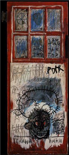 Jean-Michel Basquiat - Pork Sans 1981 acrylic oil sticks re-purposed wood door Basquiat Artist, Jean Basquiat, Jean Michel Basquiat Art, Basquiat Paintings, Graffiti, Keith Haring, Bad Painting, Street Art, Art Du Monde