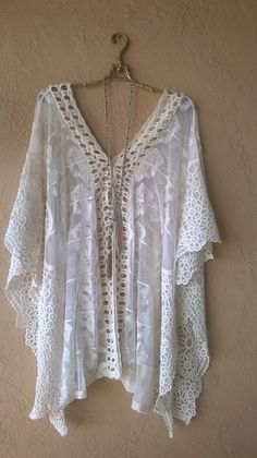 Image of SUMMER Free People sheer lace kaftan for summer beach resort