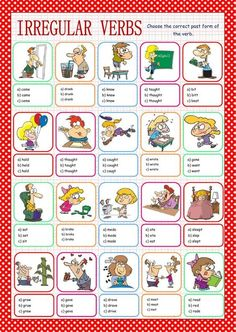 Irregular verbs interactive and downloadable worksheet. Check your answers online or send them to your teacher.